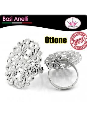 1pz base per anello OTTONE filigranato Argento