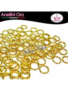 200pz Anellini apribili 5mm oro
