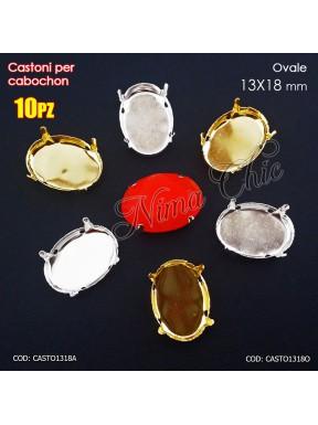 10pz CASTONI 13x18mm PER CABOCHON OVALI