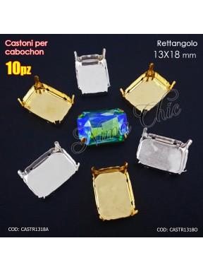 10pz CASTONI 13x18mm PER CABOCHON RETTANGOLARE