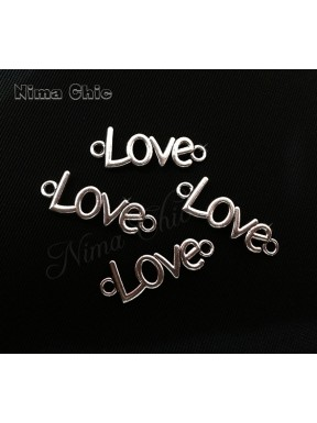 5pz charms LOVE 35X15mm argento tibetano
