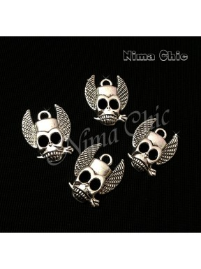 6pz charms TESCHIO INDIANO 25X20mm argento tibetano