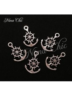 10pz charms ANCORA TIMONE 20X15mm argento tibetano