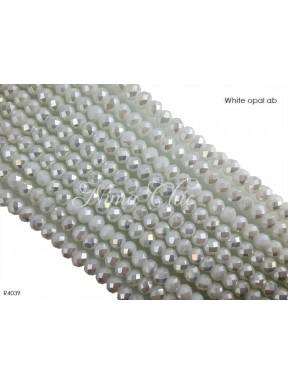 1 Filo di Cipollotti in cristallo sfaccettato 4mm White opal ab
