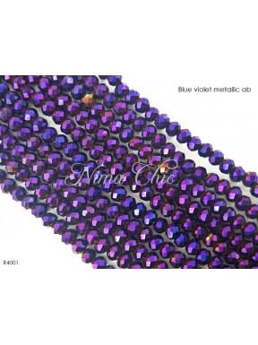 1 Filo di Cipollotti in cristallo sfaccettato 4mm Blue violet metallic ab