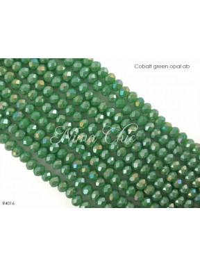 1 Filo di Cipollotti in cristallo sfaccettato 4mm Cobalt green opal ab