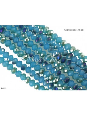 1 Filo di Cipollotti in cristallo sfaccettato 6mm Carribean 1-2 ab