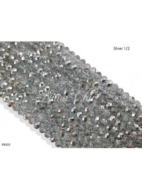 1 Filo di Cipollotti in cristallo sfaccettato 8mm Silver 1/2