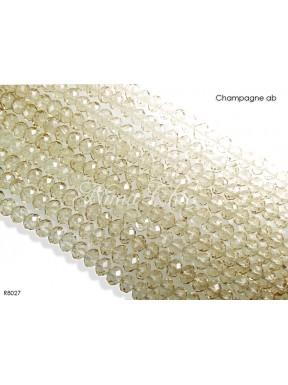 1 Filo di Cipollotti in cristallo sfaccettato 8mm Champagne ab