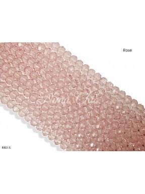 1 Filo di Cipollotti in cristallo sfaccettato 8mm Rose
