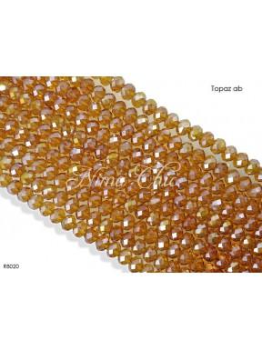 1 Filo di Cipollotti in cristallo sfaccettato 8mm Topaz ab