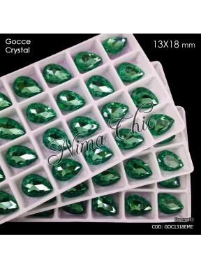 2pz GOCCE in cristallo 13x18mm cabochon emerald