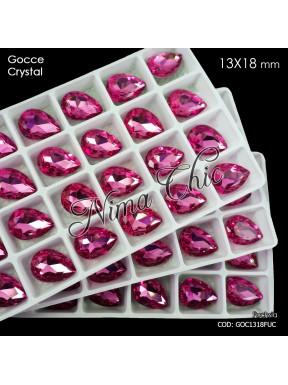 2pz GOCCE in cristallo 13x18mm cabochon fuchsia