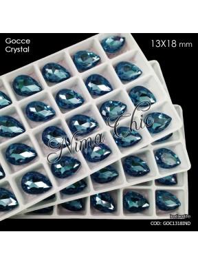 2pz GOCCE in cristallo 13x18mm cabochon indicolite