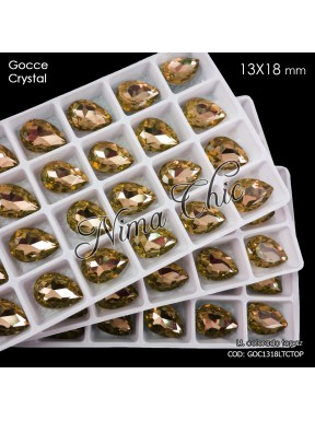 2pz GOCCE in cristallo 13x18mm cabochon light colorado topaz