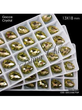 2pz GOCCE in cristallo 13x18mm cabochon light topaz