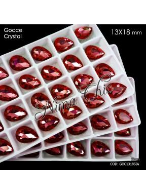2pz GOCCE in cristallo 13x18mm cabochon siam