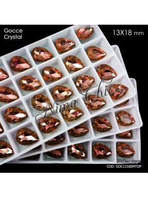 2pz GOCCE in cristallo 13x18mm cabochon smoked topaz