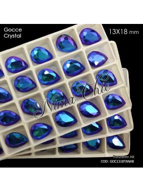 2pz GOCCE in cristallo 13x18mm cabochon tanzanite ab