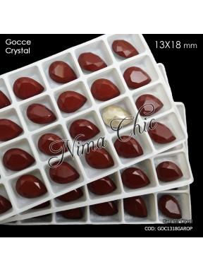 2pz GOCCE in cristallo 13x18mm cabochon garnet opal