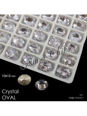 2pz OVALI in cristallo 10x12mm cabochon ice