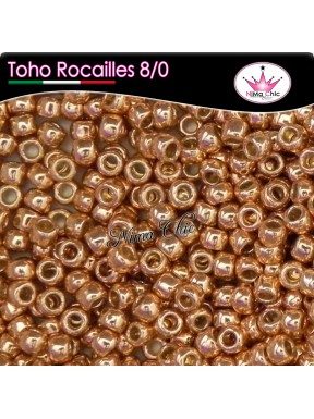 10 gr TOHO ROCAILLES 8/0 Permafinish galvanized rose gold