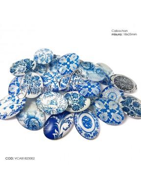 5pz Cabochon in vetro 18x25mm mix fantasia blu