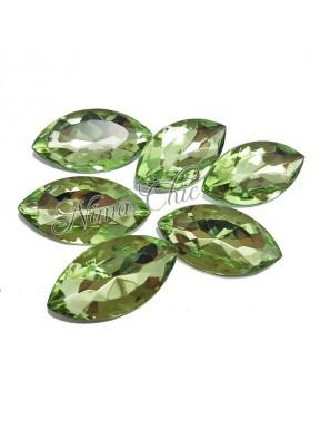 5pz Navette in resina 18x32mm chrysolite