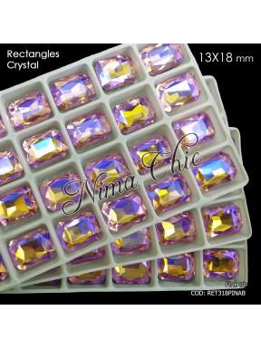 2pz RETTANGOLI in cristallo 13x18mm cabochon Pink AB