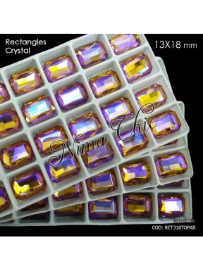 2pz RETTANGOLI in cristallo 13x18mm cabochon Topaz AB