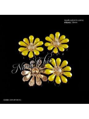 2pz APPLICAZIONI in zama Flower 18mm col. giallo e oro