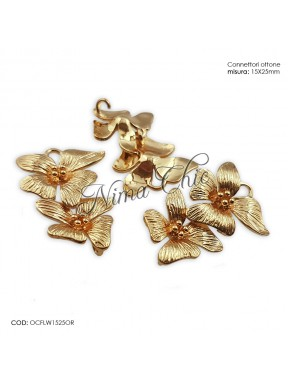 2pz CHARMS connettori in zama FLOWER 15X25mm col. oro