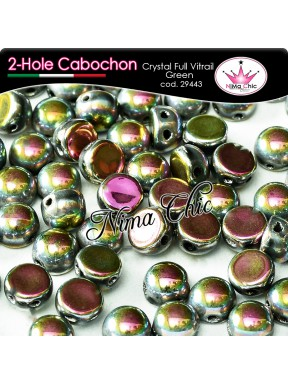 2 hole cabochon crystal full vitrail green