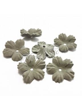 2 pz FIORI IN TESSUTO microfibra 25mm Grigio perla