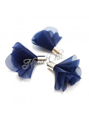 2pz NAPPINE in organza 30mm BLU e argento