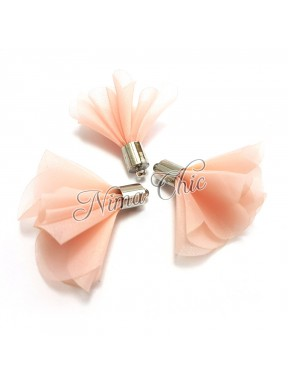 2pz NAPPINE in organza 30mm LIGHT PINK e argento