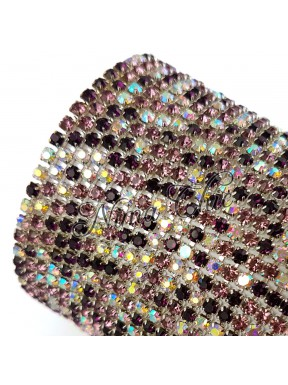 50cm Catena Strass in OTTONE crystal - amethyst 1/2 AB 2.8mm