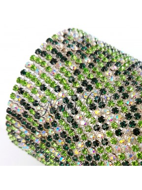 50cm Catena Strass in OTTONE crystal - green 1/2 AB 2.5mm