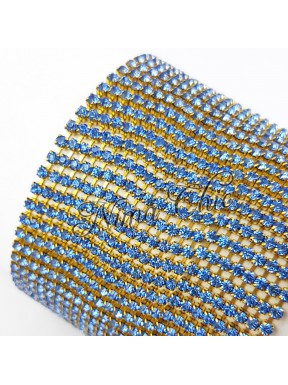 50cm Catena Strass in OTTONE Gold/Blue 2mm