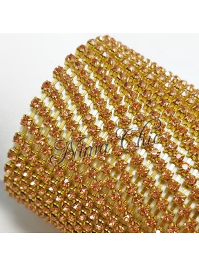 50cm Catena Strass in OTTONE Gold/Blush 3mm