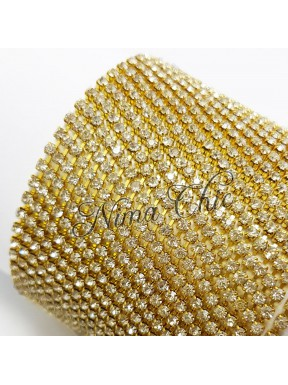 50cm Catena Strass in OTTONE Gold/Crystal 2mm