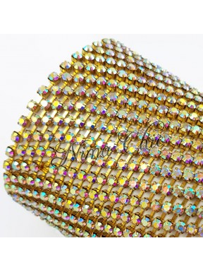 50cm Catena Strass in OTTONE Gold/Crystal ab 2,5mm