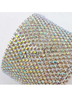 50cm Catena Strass in OTTONE Silver/Crystal ab 2mm