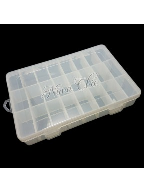 Box contenitore in pvc trasparente per minuteria e perline 24 posti