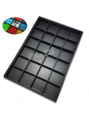 MAXY contenitore in ecopelle nera per minuteria e perline 24 posti