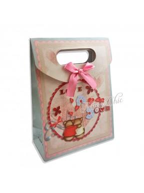 """Busta regalo in carta rigida 12x16cm con chiusura a strappo """"Love"""""""
