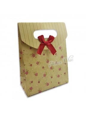 """Busta regalo in carta rigida 12x16cm con chiusura a strappo """"Roselline"""""""