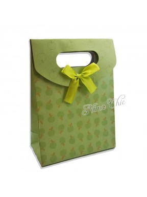 "Busta regalo in carta rigida 12x16cm con chiusura a strappo ""Green apple"""