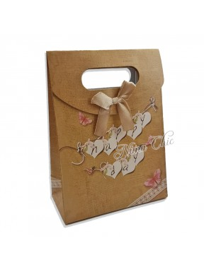 "Busta regalo in carta rigida 12x16cm con chiusura a strappo ""Happy day"""