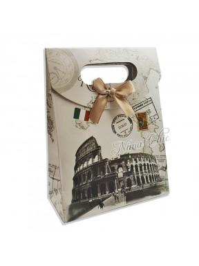 """Busta regalo in carta rigida 12x16cm con chiusura a strappo """"Vintage italy"""""""
